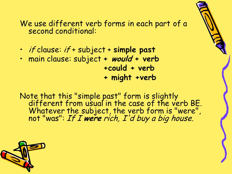 conditional verb forms Both regular and irregular verbs use the same set of endings, and any stems that are irregular in the simple future are also irregular in the conditional regular conditional forms to form the conditional tense with regular verbs, simply add the conditional endings to the end of the infinitive.