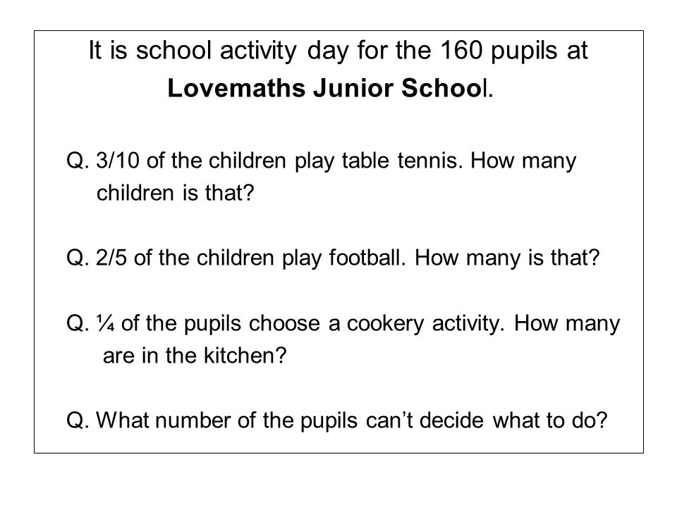 It is school activity day for the 160 pupils at