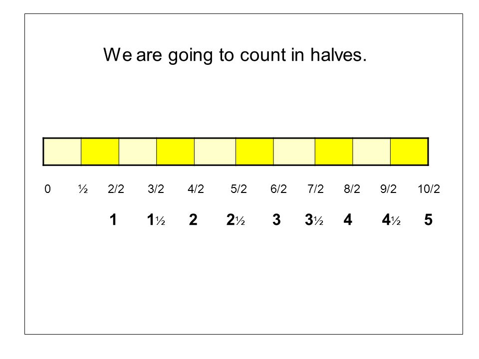 We are going to count in halves.