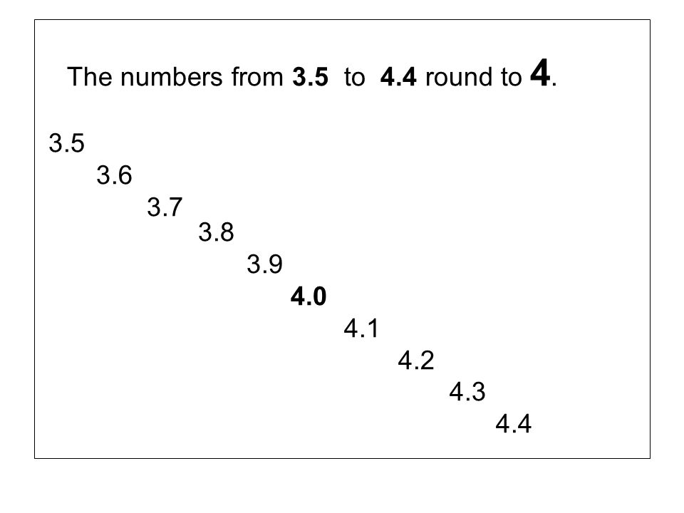 The numbers from 3.5 to 4.4 round to 4.