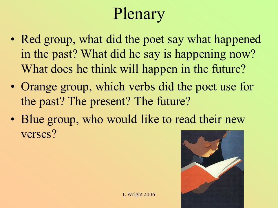Plenary Red group, what did the poet say what happened in the past What did he say is happening now What does he think will happen in the future