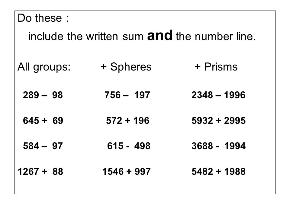include the written sum and the number line.