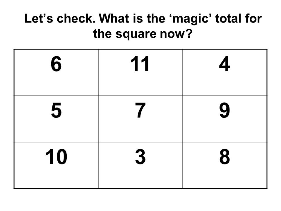 Let's check. What is the 'magic' total for the square now