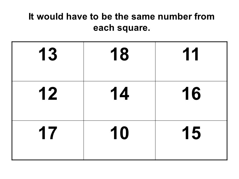 It would have to be the same number from each square.