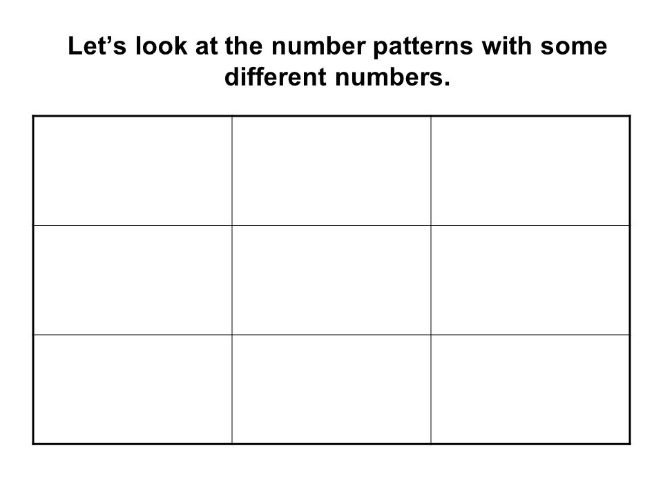 Let's look at the number patterns with some different numbers.