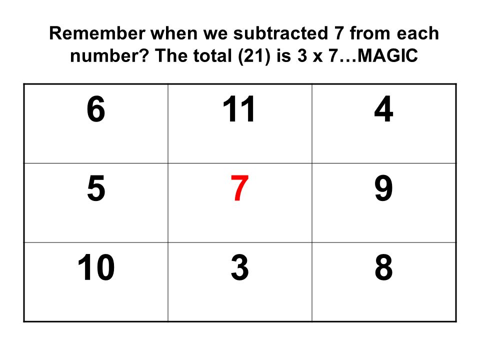 Remember when we subtracted 7 from each number