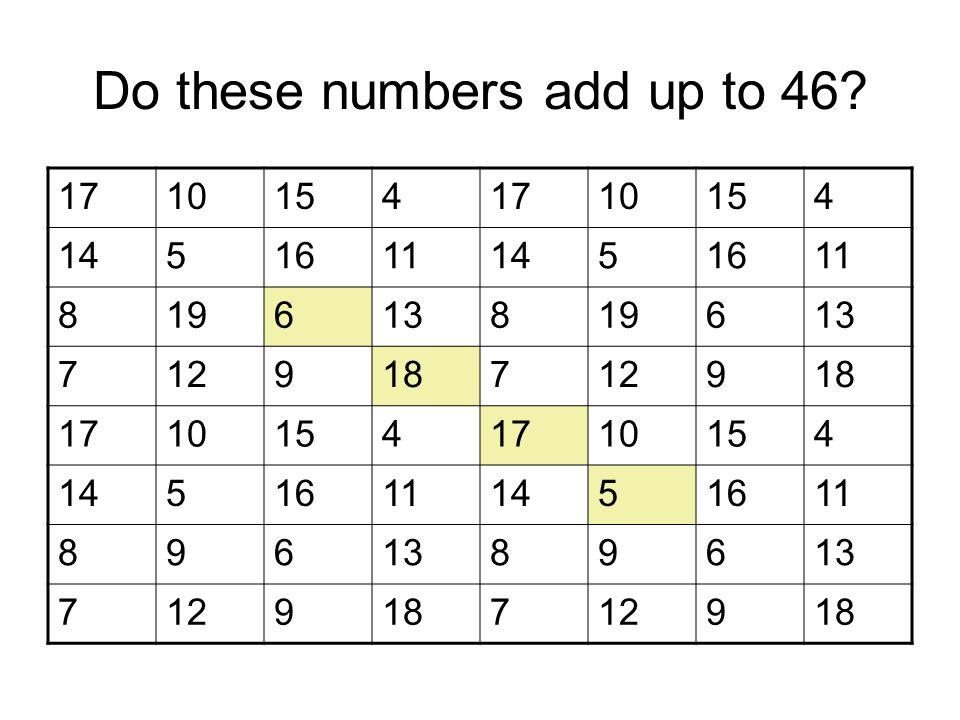 Do these numbers add up to 46