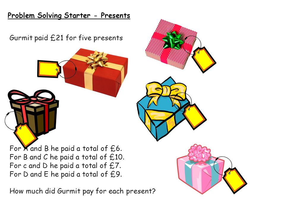 Problem Solving Starter - Presents
