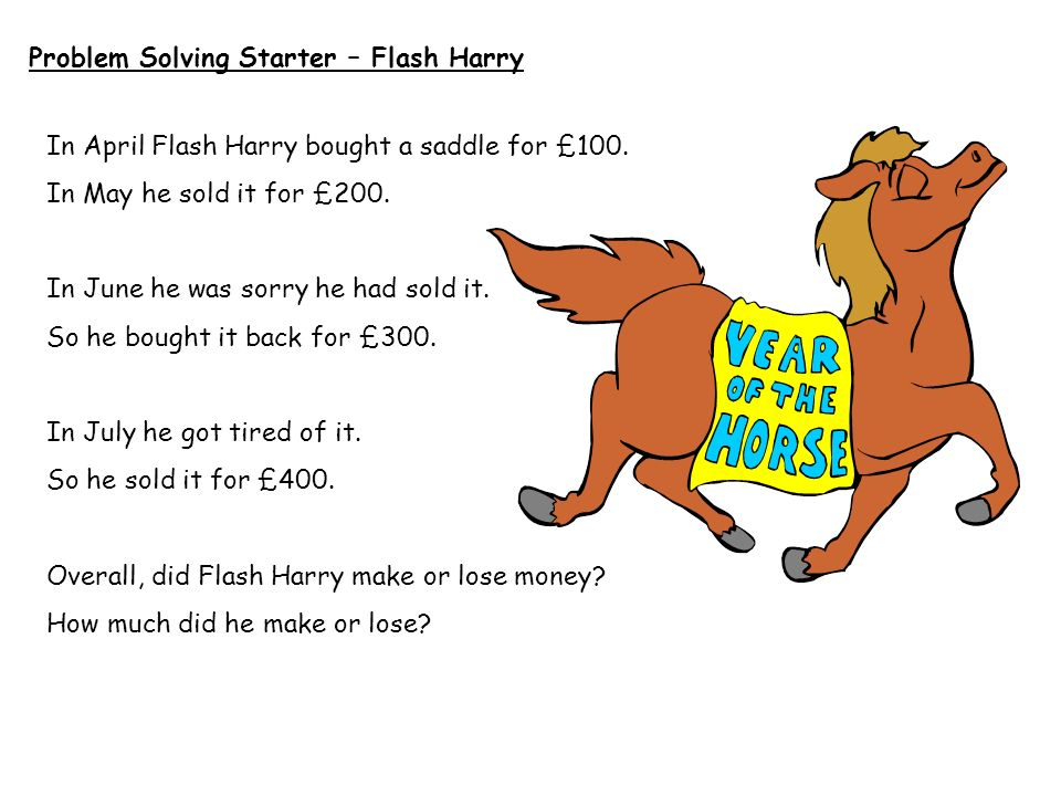 Problem Solving Starter – Flash Harry