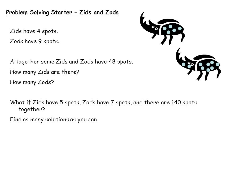 Problem Solving Starter – Zids and Zods