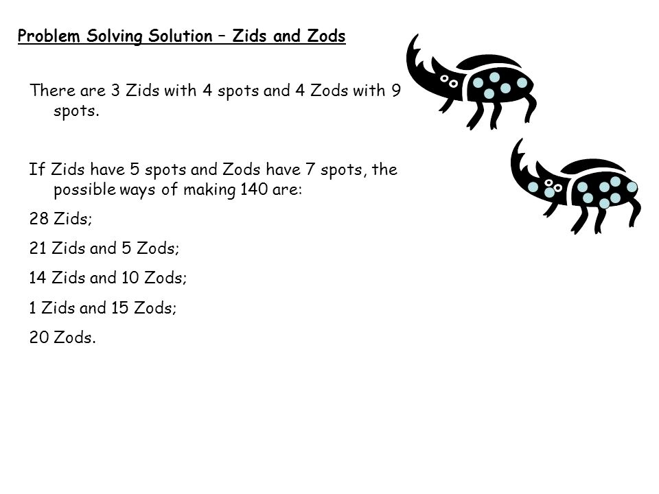 Problem Solving Solution – Zids and Zods