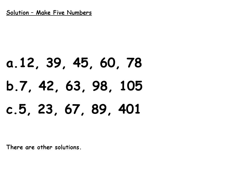 Solution – Make Five Numbers