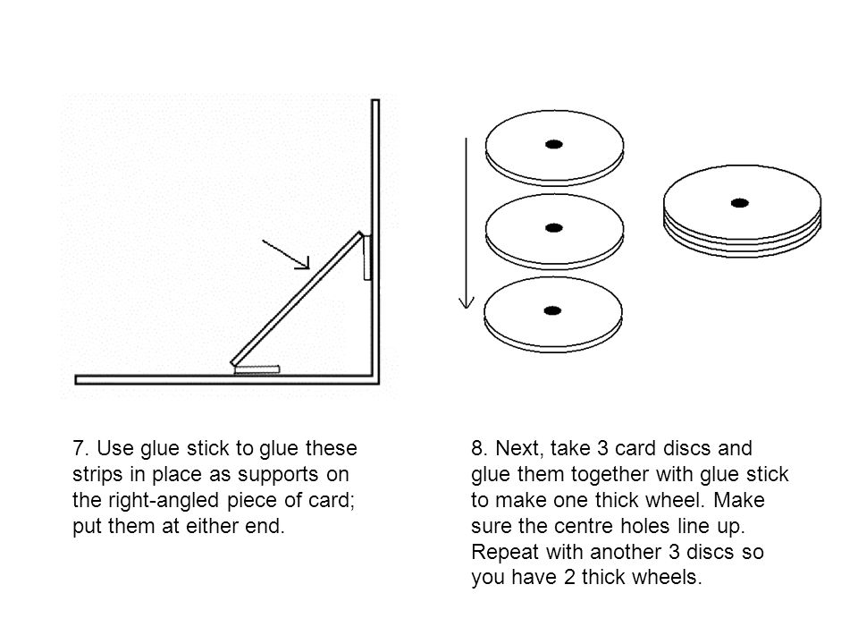 7. Use glue stick to glue these strips in place as supports on the right-angled piece of card; put them at either end.