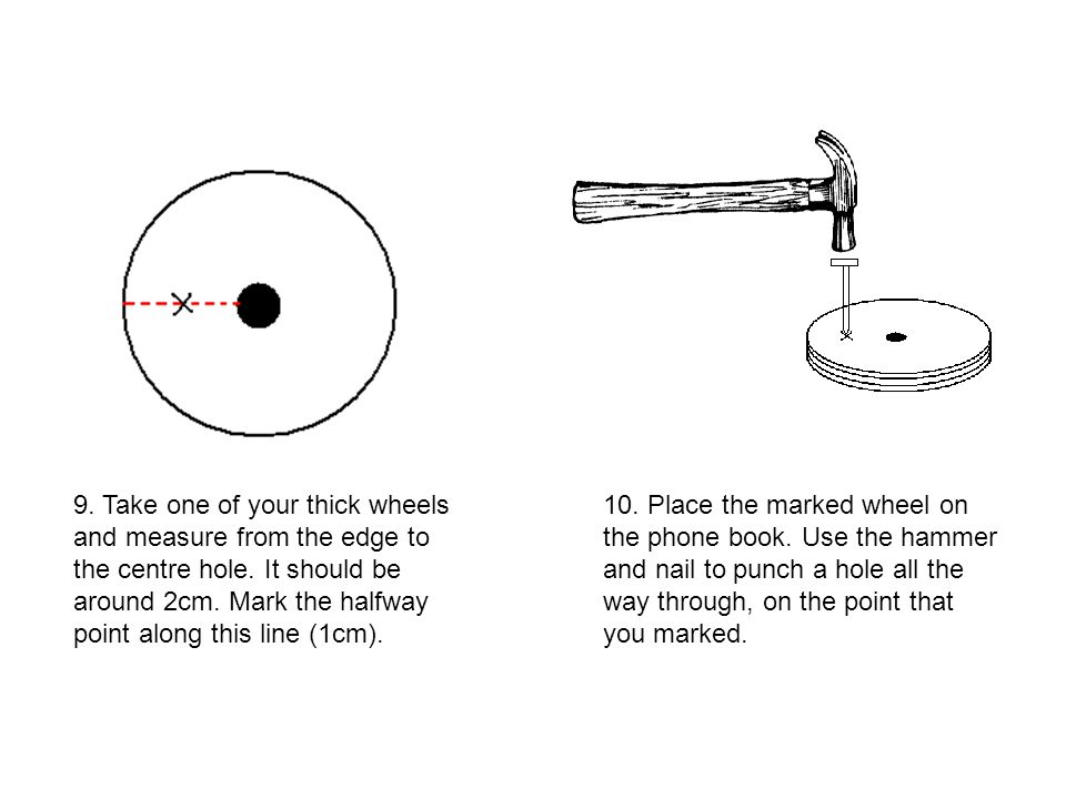 9. Take one of your thick wheels and measure from the edge to the centre hole. It should be around 2cm. Mark the halfway point along this line (1cm).
