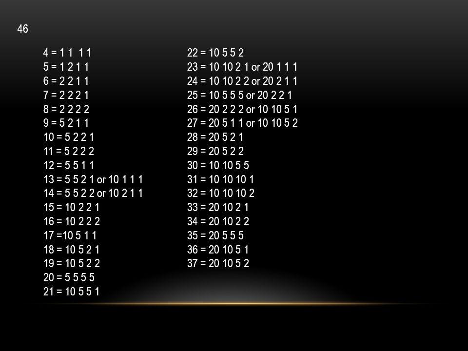 46 4 = 1 1 1 1. 5 = 1 2 1 1. 6 = 2 2 1 1. 7 = 2 2 2 1. 8 = 2 2 2 2. 9 = 5 2 1 1. 10 = 5 2 2 1.