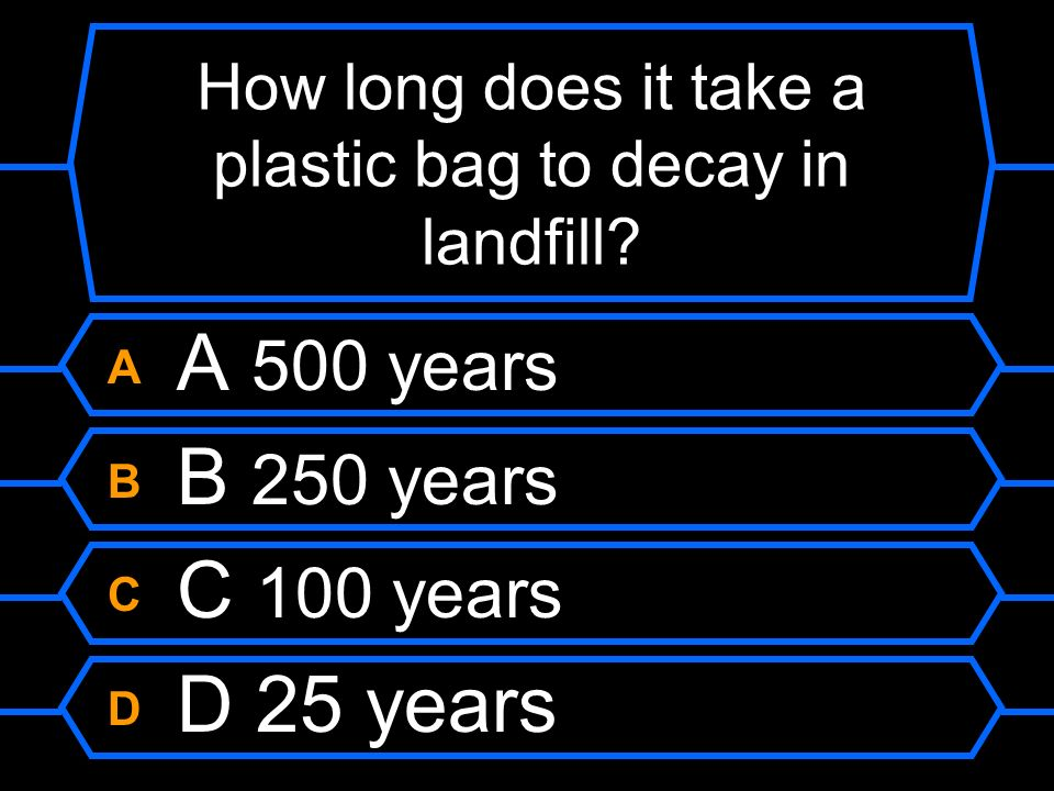 How long does it take a plastic bag to decay in landfill