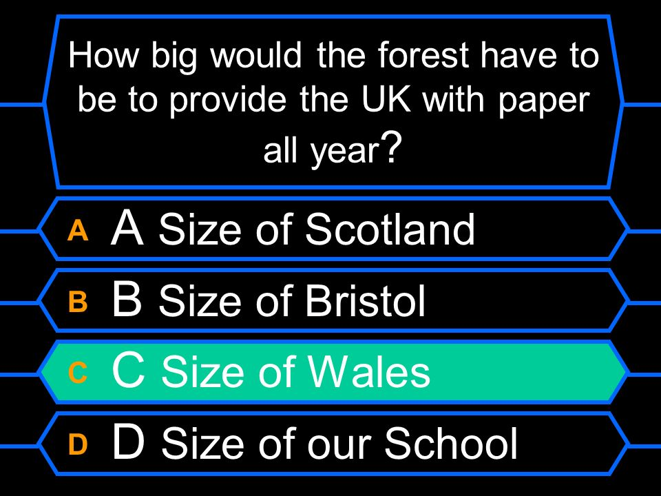 A A Size of Scotland B B Size of Bristol C C Size of Wales
