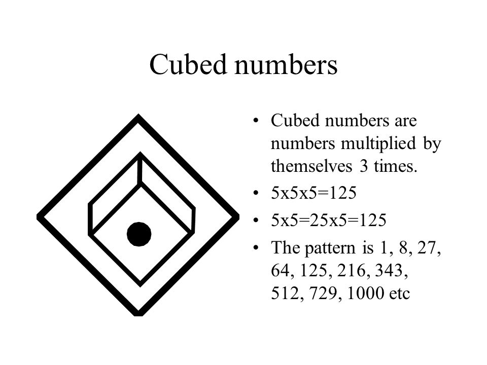 Cubed numbers Cubed numbers are numbers multiplied by themselves 3 times. 5x5x5=125. 5x5=25x5=125.