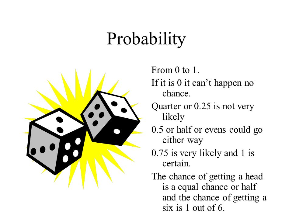 Probability From 0 to 1. If it is 0 it can't happen no chance.