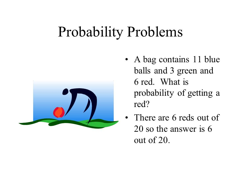 Probability Problems A bag contains 11 blue balls and 3 green and 6 red. What is probability of getting a red