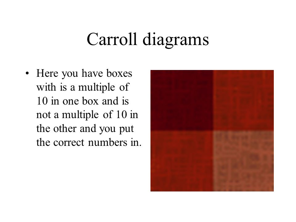 Carroll diagrams Here you have boxes with is a multiple of 10 in one box and is not a multiple of 10 in the other and you put the correct numbers in.