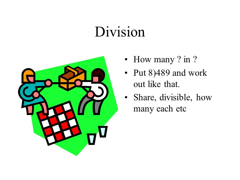 Division How many in Put 8)489 and work out like that.