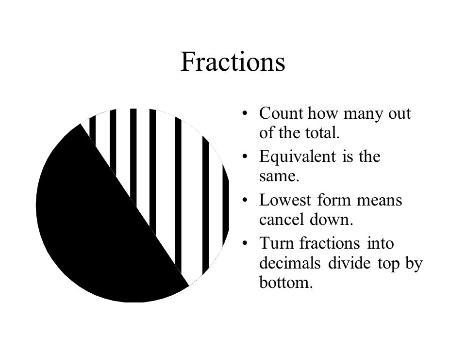 Fractions Count how many out of the total. Equivalent is the same.