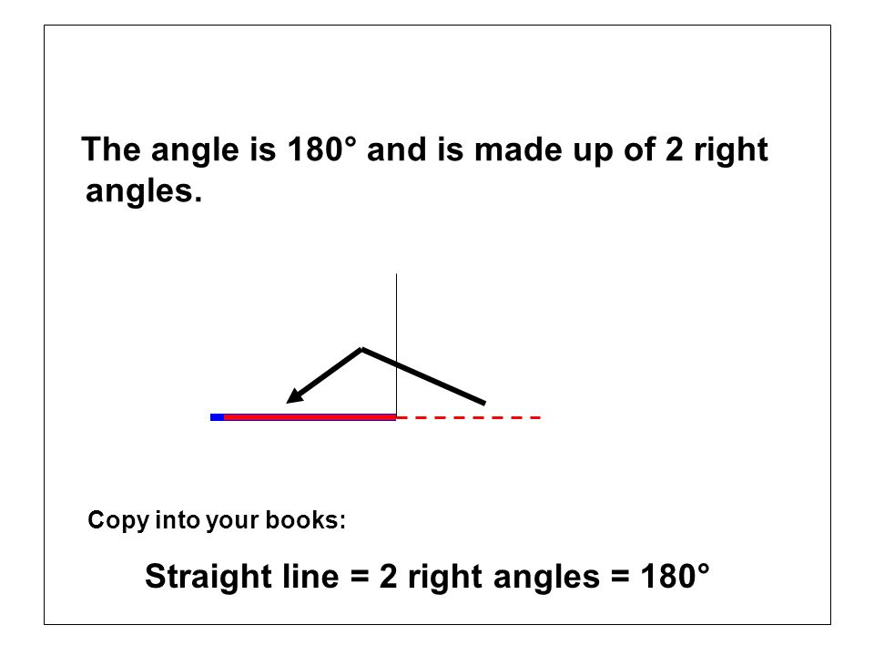 The angle is 180° and is made up of 2 right angles.