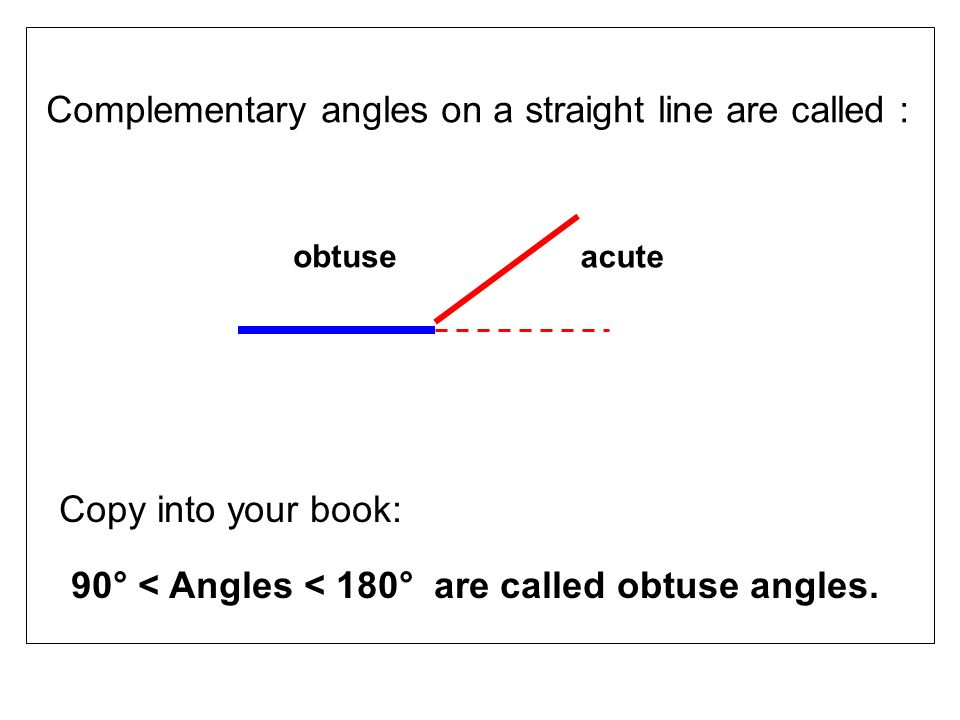90° < Angles < 180° are called obtuse angles.