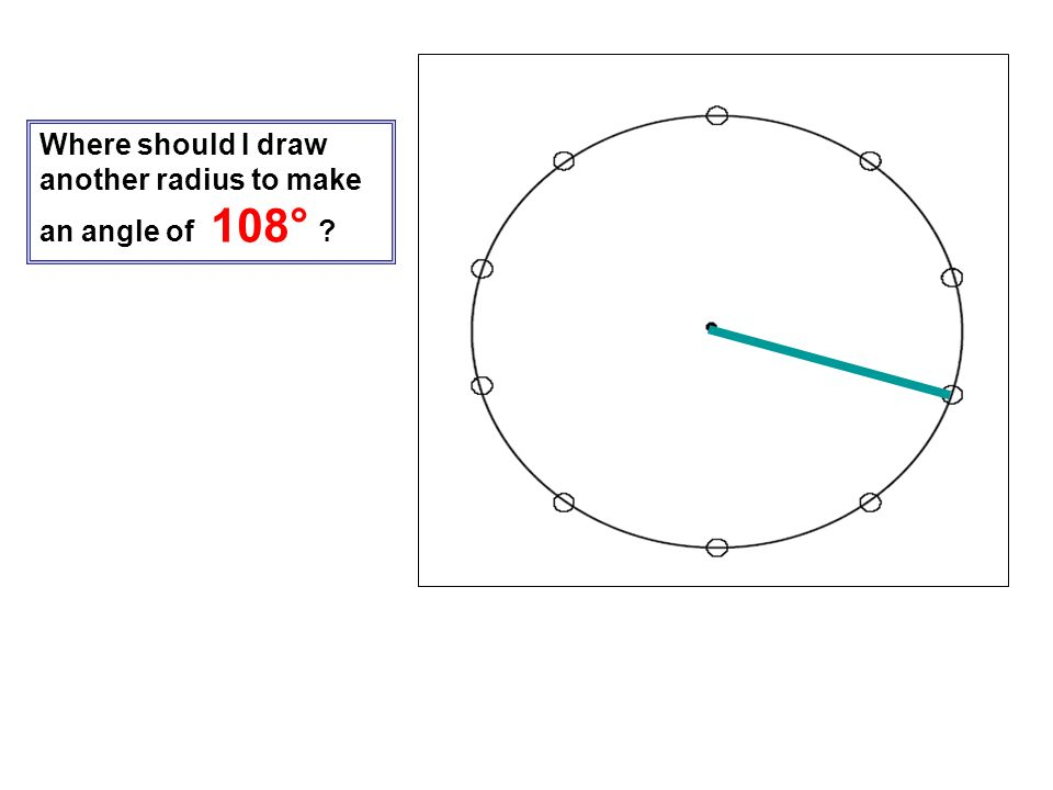 Where should I draw another radius to make an angle of 108°