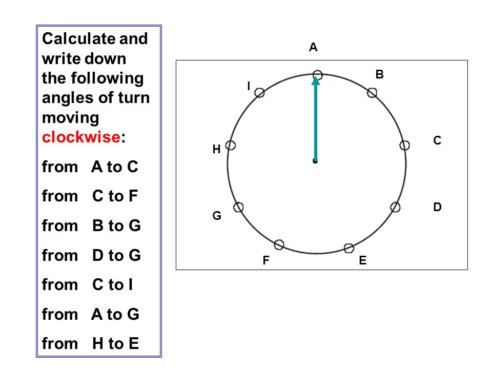 Calculate and write down the following angles of turn moving clockwise: