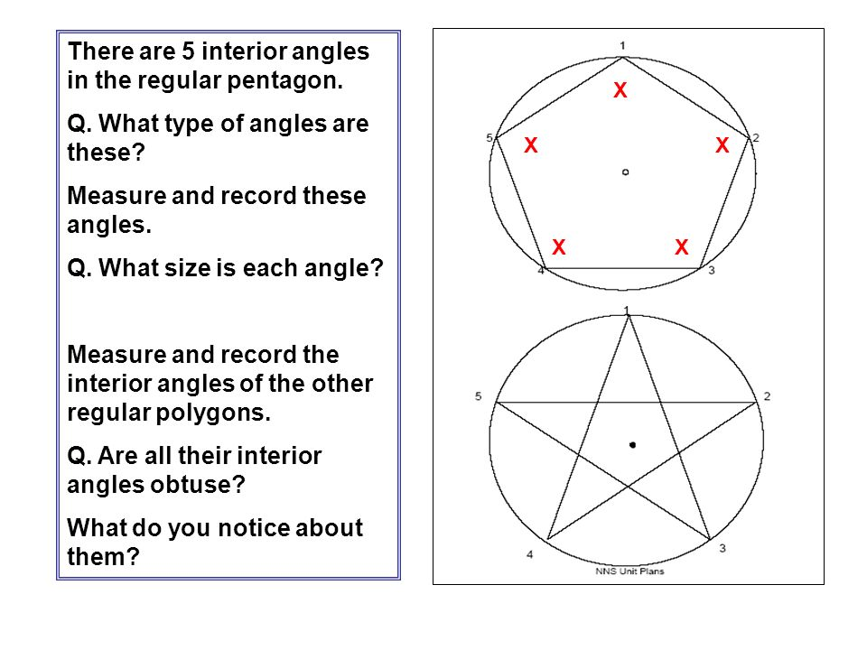 There are 5 interior angles in the regular pentagon.