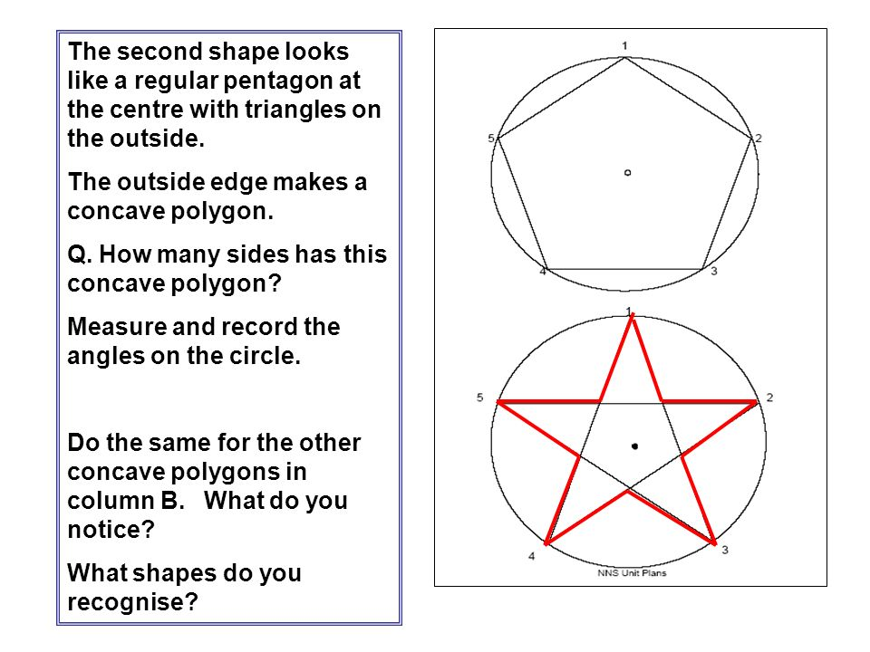 The second shape looks like a regular pentagon at the centre with triangles on the outside.