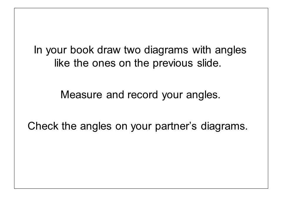 In your book draw two diagrams with angles