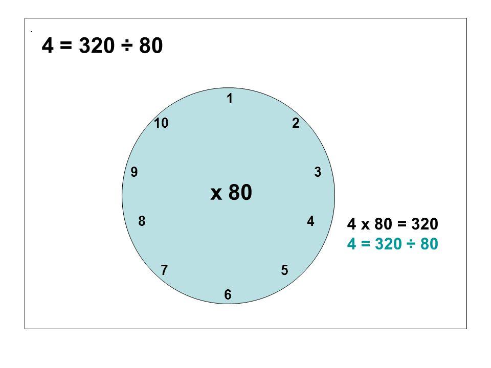 . 4 = 320 ÷ 80. 1. 10 2. 9 3.