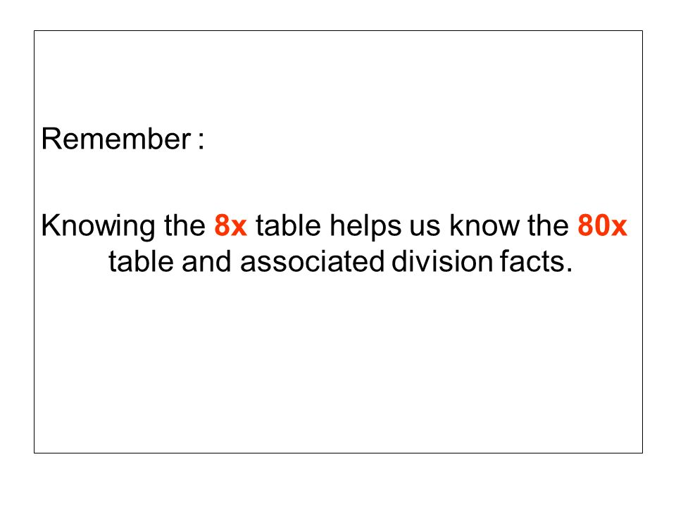 Remember : Knowing the 8x table helps us know the 80x table and associated division facts.
