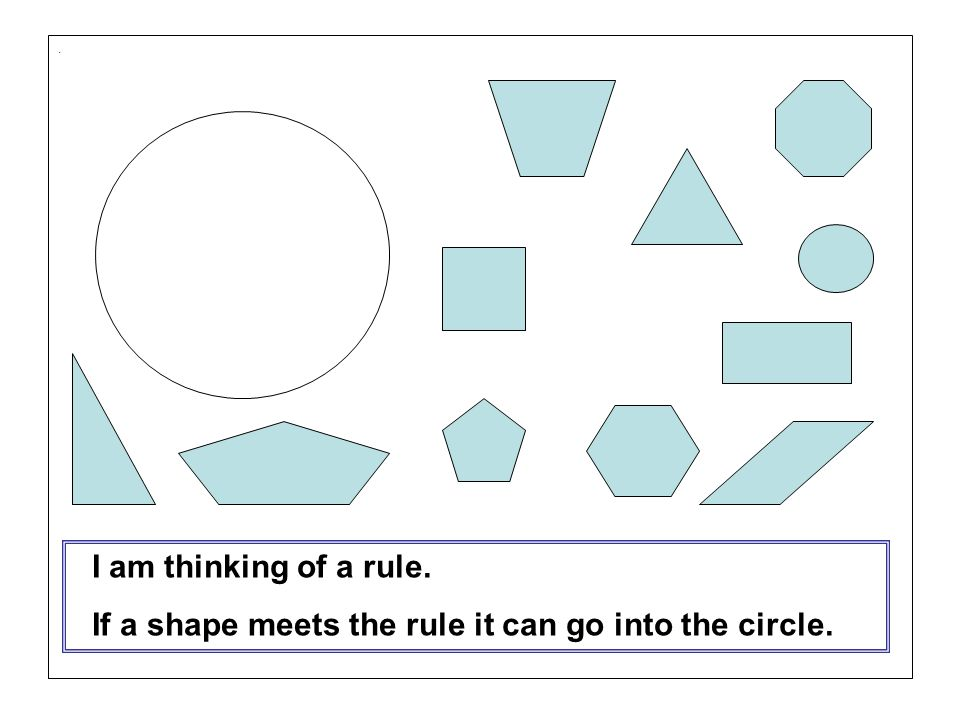 If a shape meets the rule it can go into the circle.