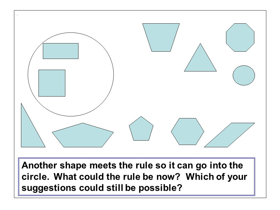 Another shape meets the rule so it can go into the circle.