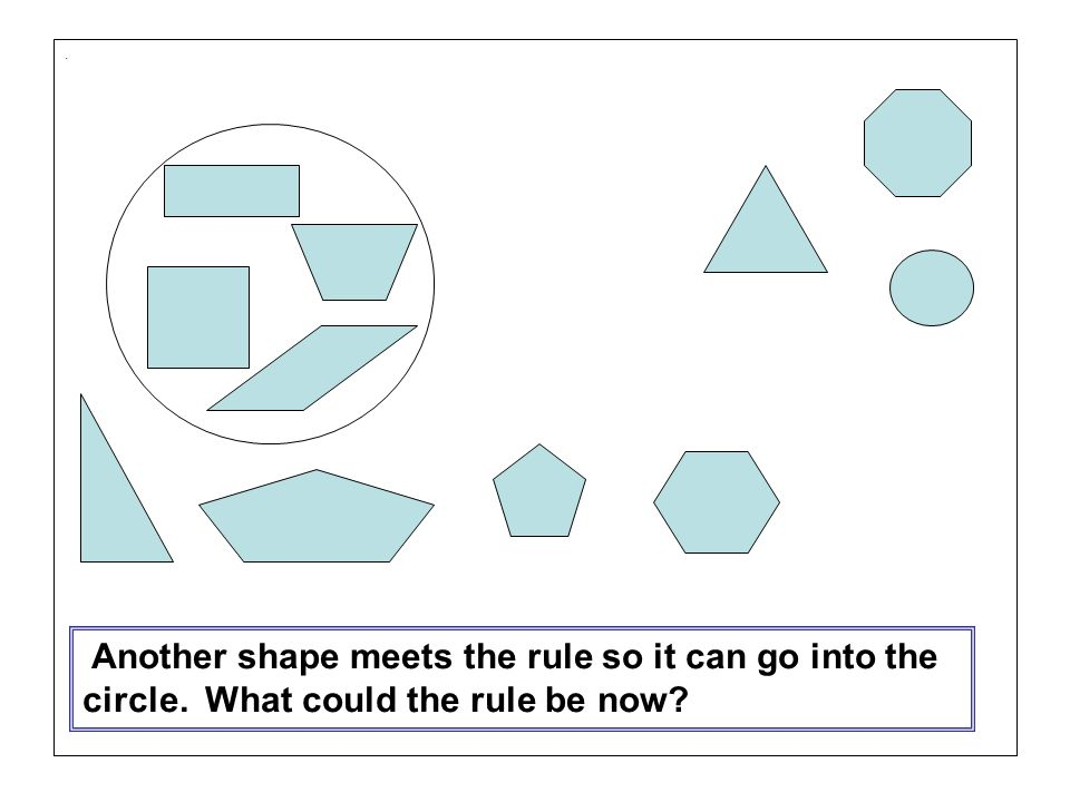 . Another shape meets the rule so it can go into the circle. What could the rule be now