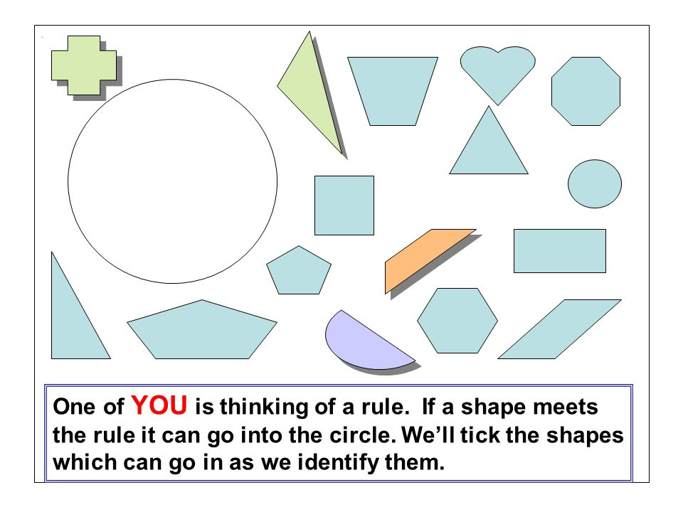 One of YOU is thinking of a rule. If a shape meets the rule it can go into the circle.