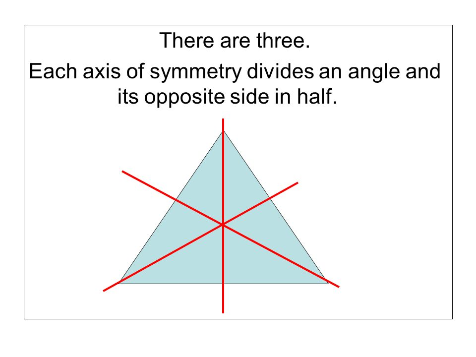 There are three. Each axis of symmetry divides an angle and its opposite side in half.