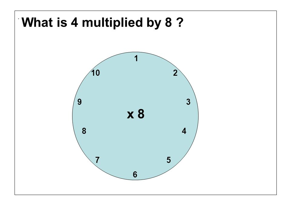 . What is 4 multiplied by 8 1. 10 2. 9 3.
