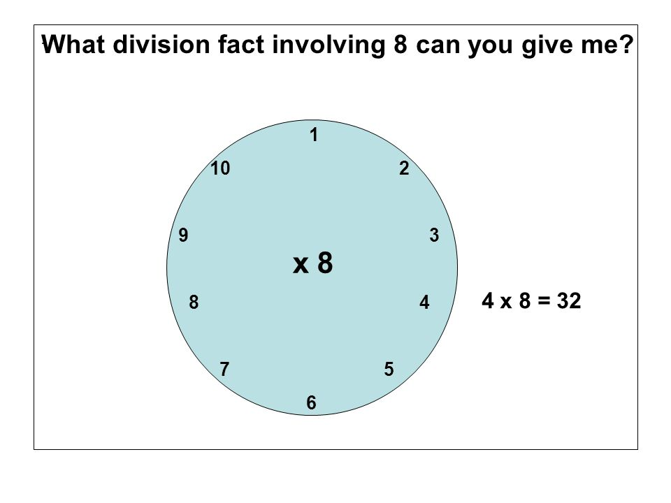 x 8 What division fact involving 8 can you give me 4 x 8 = 32 10 2
