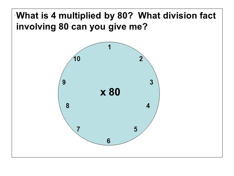 . What is 4 multiplied by 80 What division fact involving 80 can you give me 1. 10 2.