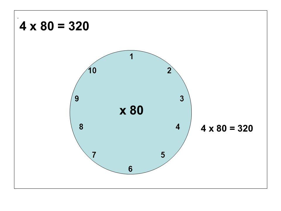 . 4 x 80 = 320. 1. 10 2. 9 3.
