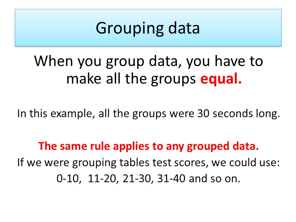 The same rule applies to any grouped data.
