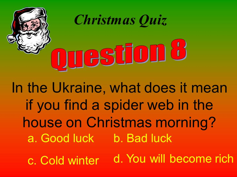 Christmas Quiz Question 8. In the Ukraine, what does it mean if you find a spider web in the house on Christmas morning