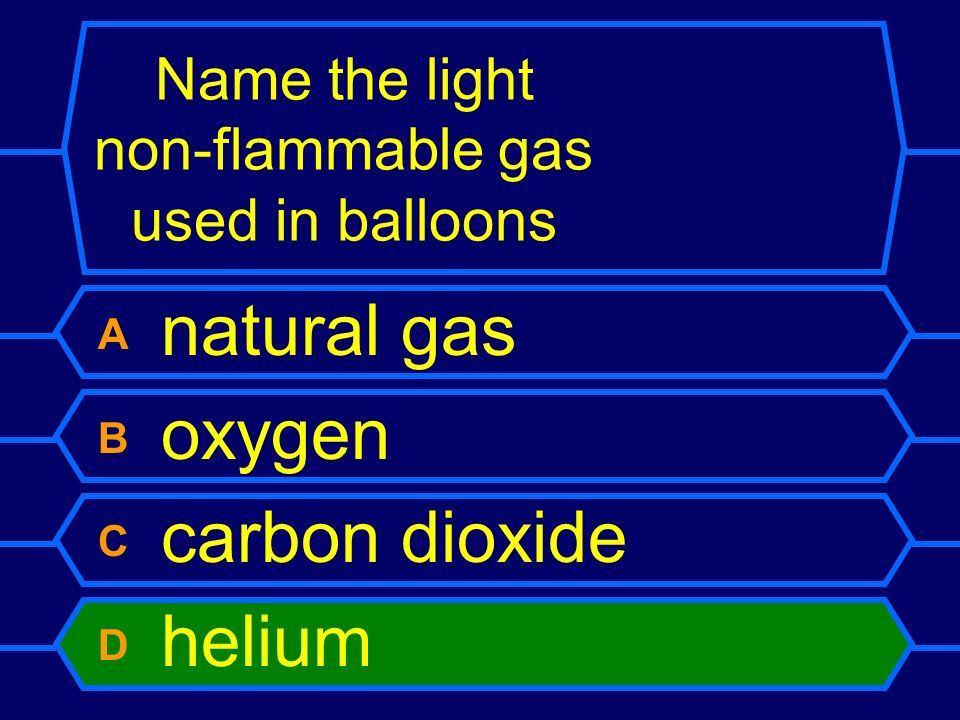 Name the light non-flammable gas used in balloons
