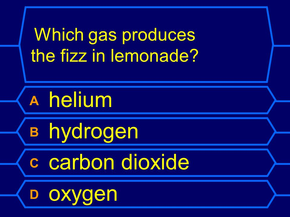 Which gas produces the fizz in lemonade
