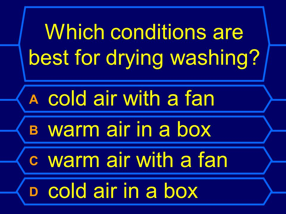 Which conditions are best for drying washing